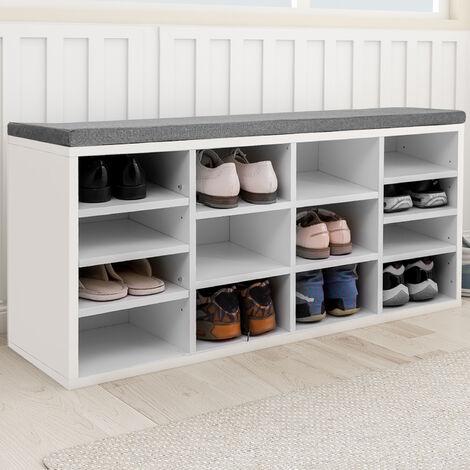 Wooden Shoe Bench Storage Shoe Cabinet Rack Hallway Cupboard Organizer with Seat Cushion 104 x 30 x 48 cm(W x D x H) (White, 14-Grids)
