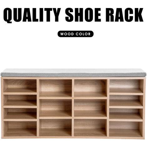 Wooden Shoe Bench Storage Shoe Cabinet Rack Hallway Cupboard Organizer with Seat Cushion 104 x 30 x 48 cm(W x D x H) (White, 14-Grids) YCTD00333