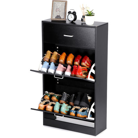 Wooden Shoe Cabinet Shoe Organizers With Storage Drawers Black