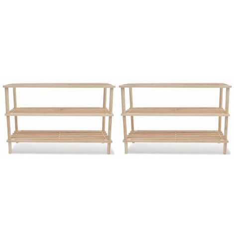 Wooden Shoe Rack 3-Tier Shoe Shelf Storage 2 pcs
