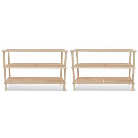 Wooden Shoe Rack 3-Tier Shoe Shelf Storage 2 pcs VDTD08518