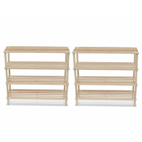 Wooden Shoe Rack 4-Tier Shoe Shelf Storage 2 pcs