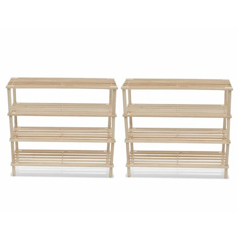 Wooden Shoe Rack 4-Tier Shoe Shelf Storage 2 pcs