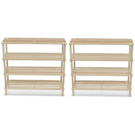 Wooden Shoe Rack 4-Tier Shoe Shelf Storage 2 pcs VDTD08519