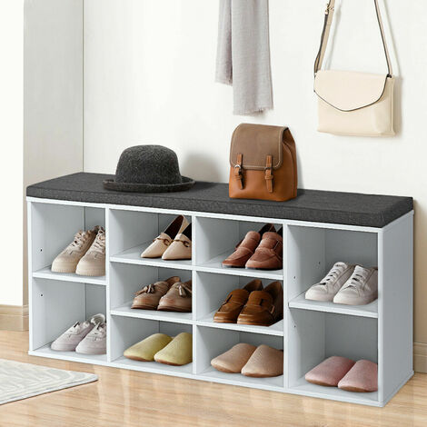 """main image of """"Wooden Shoe Rack Bench Shoe Storage Cabinet Organizer Stand with Seat Cushion"""""""
