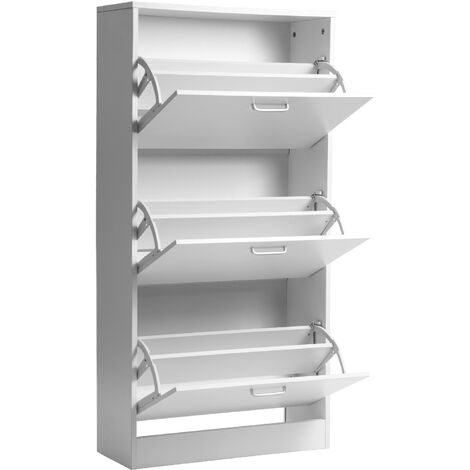 Wooden Shoe Rack for Shoe Cabinet Storage Cabinet with Seat Cushion 60x24x120cm (L x W x H) (White, 3 drawers)