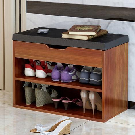 Wooden Shoe Rack Storage Box Book Shelf Shoe Cabinet Bench Furniture Brown 60x30x45cm