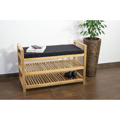 Wooden shoe rack with cushion 89x40.5x58 cm