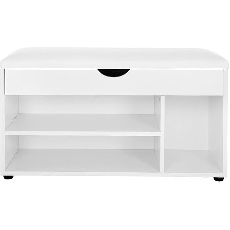 Wooden Shoe Storage Bench Ottoman Hallway Bench With Seat Cushion Seat Cabinet with 2 Shelves and a Hidden Storage Chest White LHS30W - Beige