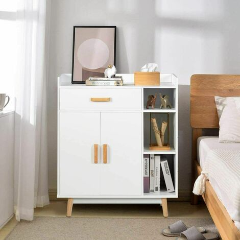 "main image of ""Wooden Sideboard Cabinet Bookcase Hallway Storage Unit Cupboard Adjustable Shelf"""