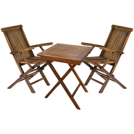 """main image of """"Wooden Square Garden Dining Drinks Table and 2 Outdoor Folding Chairs Bistro Set"""""""