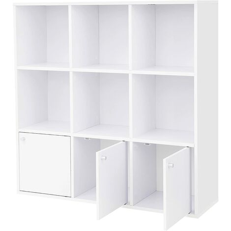 Wooden Storage Bookcase Home or Office Display Shelf Freestanding Cube Unit DVD Rack Bookshelf with 3 Bottom Cabinets White LBC33WT