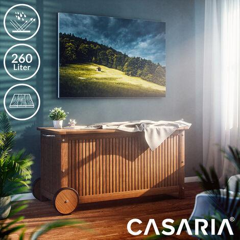 Wooden Storage Box with Wheels 117 cm Acacia