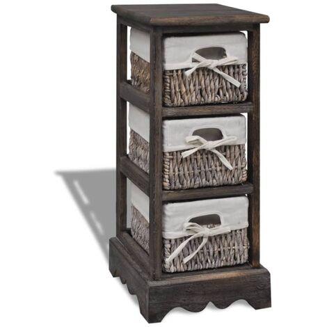 Wooden Storage Rack 3 Weaving Baskets Brown