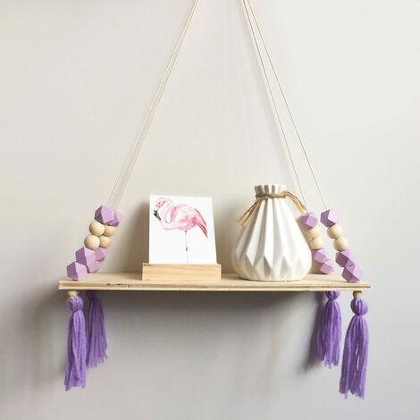 Wooden Storage Shelf, Stylish and Trendy Shelf, Book, Plants, Rack, Wall Bracket Storage Shelf for Nursery / Home / Living Room / Bathroom, Wood, Purple, 38 * 14cm
