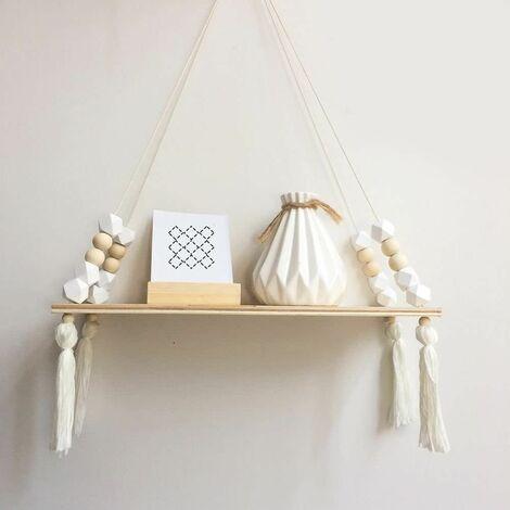 Wooden Storage Shelf, Stylish and Trendy Shelf, Book, Plants, Rack, Wall Bracket Storage Shelf for Nursery / Home / Living Room / Bathroom, Wood, White, 38 * 14cm