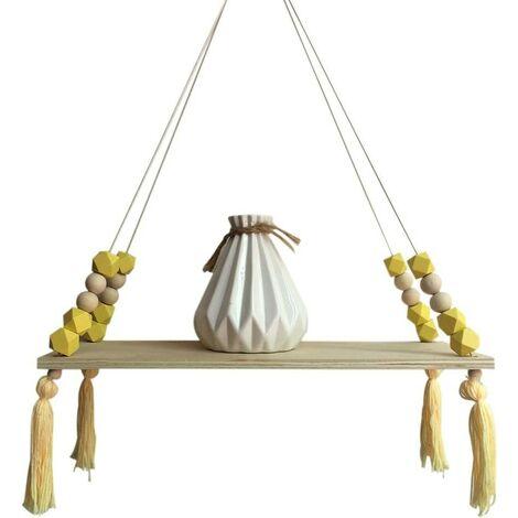Wooden Storage Shelf, Stylish and Trendy Shelf, Book, Plants, Rack, Wall Bracket Storage Shelf for Nursery / Home / Living Room / Bathroom, Wood, Yellow, 38 * 14cm