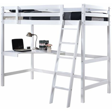 Wooden Study 3FT Bunk Bed Frame with Desk in White - Frame with Deluxe Memory Foam Mattress