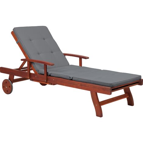 Wooden Sun Lounger Recliner Slide Out Tray Grey Cushion Patio Toscana