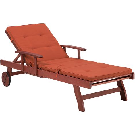 Wooden Sun Lounger Recliner Slide Out Tray Red Cushion Patio Toscana
