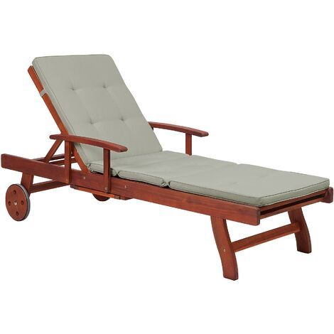 Wooden Sun Lounger Recliner Slide Out Tray Taupe Cushion Patio Toscana