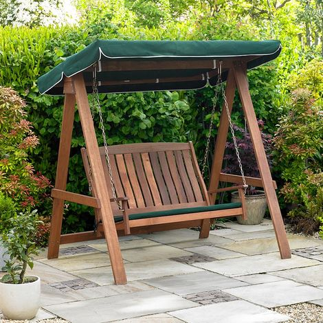 Wooden Swinging Bench with Canopy