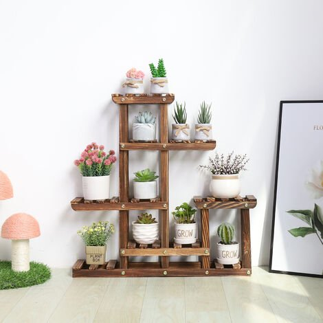 Wooden Tabletop Plant Stand MultiLayer Concise Desktop Windowsill Planter Holder