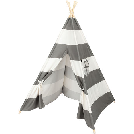 Wooden Teepee Tent for Kids Gray and White Stripes 4 Poles