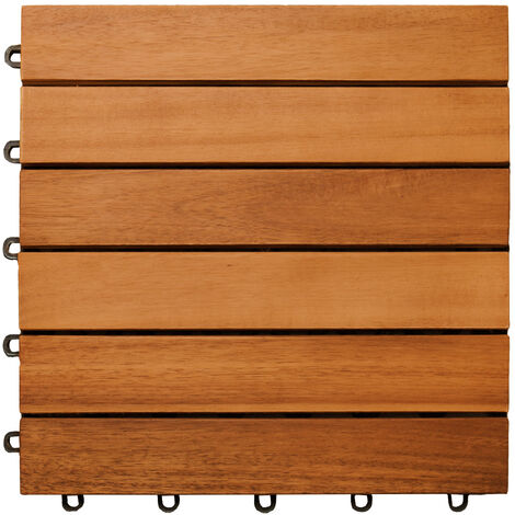 Wooden Tile 30x30x2.5cm Wood Terrace Patio Balcony Garden Pavement Swimming Pool Akazie (de)