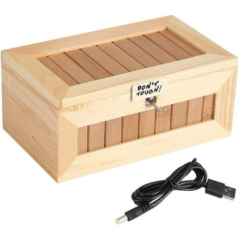 Wooden Toy Box, Electronic Box USB Wooden Cute Tiger Funny Interactive Toy Stress Reliever Gift Gift Car Decoration Compatible with Power Bank