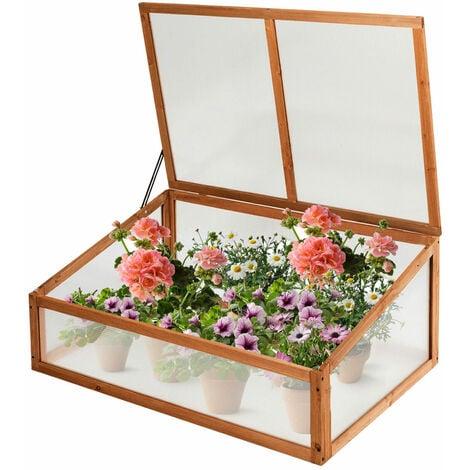 Wooden Transparent Greenhouse Cold Frame Raised Garden Flower Planter Growhouse