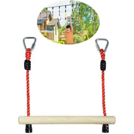 Wooden trapeze Monkey Bar Swing, Children's obstacle swing, Wooden Rod Ring, Climbing Training, Hanging Bar Accessories for