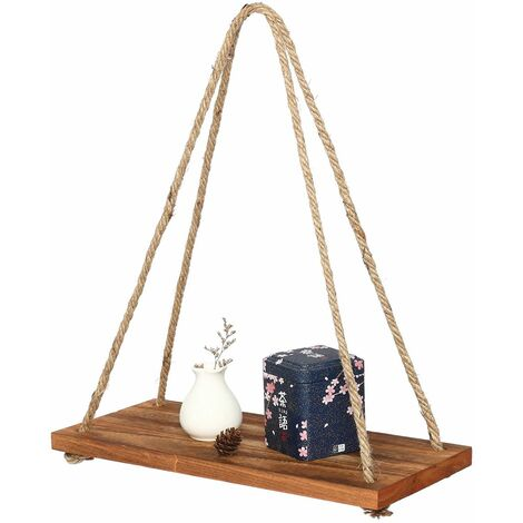 Wooden Wall Hanging Shelf Pearl Tassels Storage Rack Wall Rope Hanging Shelf Room Decor 1 Tier WASHING