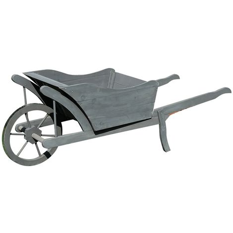 Wooden wheelbarrow Planting wheelbarrow Wheelbarrow Plant trough wood Decoration wheelbarrow grey