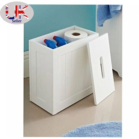 Wooden White Crisp Finish Small Toilet Cleaning Product Storage Tidy Box Unit
