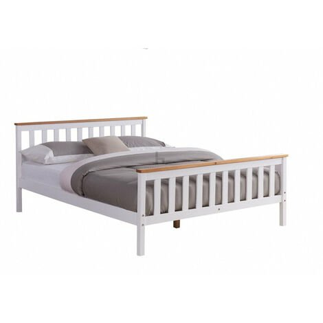 """main image of """"Woodford Wooden Bed Frame White & Oak, Double"""""""