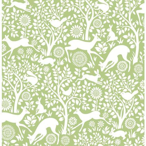 Woodland Meadow Wallpaper A Street Prints Non Woven Green White Fine Decor