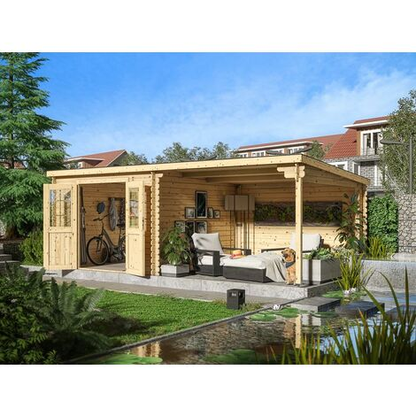 WOODTEX Gartenhaus Blockbohlenhaus CA2977 28 mm naturbelassen mit 3 m Anbau BxTxH: 596x298x204 cm, Sockelmaß Haus: BxT: 280x280 cm, inkl. 300 cm Anbau - Naturbelassen