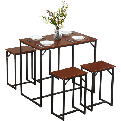 """main image of """"WOODYHOME Vintage Bar Table & 4 Stools Set Industrial Breakfast Bar Table Dining Set"""""""