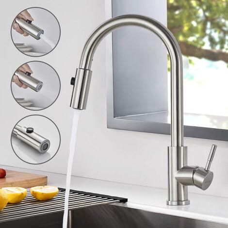 WOOHSE 360° Edelstahl Einhebel Hochdruck Küchenarmatur mit ausziehbarem Auslauf für Küche & Waschbecken