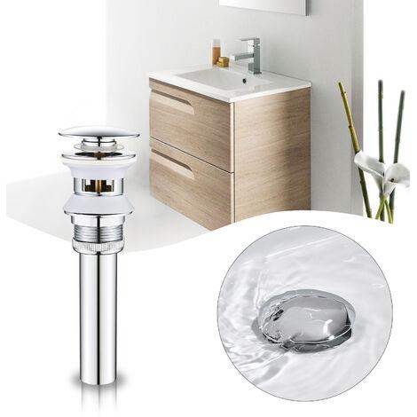 WOOHSE Ablaufgarnitur Mit Überlauf für Waschtisch, WOOHSE Pop up Ventil für Waschbecken, Ablaufventil mit Überlauf-Funktion, Abflussgarnitur aus Zinklegierung Verchromt mit Rohrverlängerung
