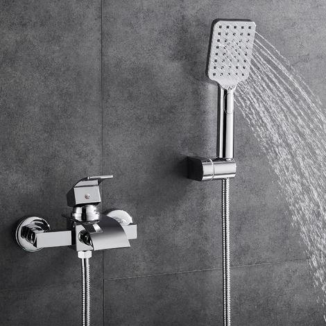 WOOHSE Armatur Badewanne Wasserhahn inkl. Wandhalterung mit Handbrause für Bad