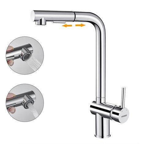 WOOHSE Ausziehbar Mischbatterie Küchenarmatur 360° drehbar Schwenkbarer Wasserhahn Armatur für Küche Waschbecken