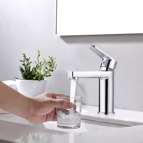 WOOHSE Bathroom Taps Single Lever Mixer Tap for Bathtub Bathroom Tap Mixer for Washbasin Mixer for Washbasin Body Chrome-plated Brass Body