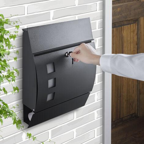 WOOHSE Boîte aux Lettres avec Compartiment à Journaux, Mail Box Mural en Acier Galvanisé avec avec 3 Fenêtres de Visualisation, Plaque Signalétique, 2 Clés Verrouillables, Anthracite 45x35x11 cm - noir