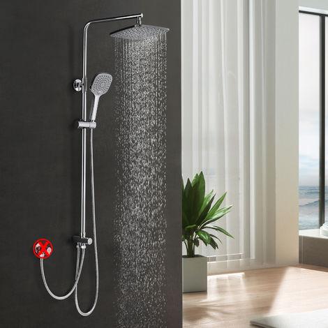 WOOHSE columna de ducha sin grifo ducha de lluvia accesorio de ducha sistema de ducha con ducha de mano incluyendo ducha de mano 3 tipos de rociadores set de ducha, altura ajustable 78-132cm