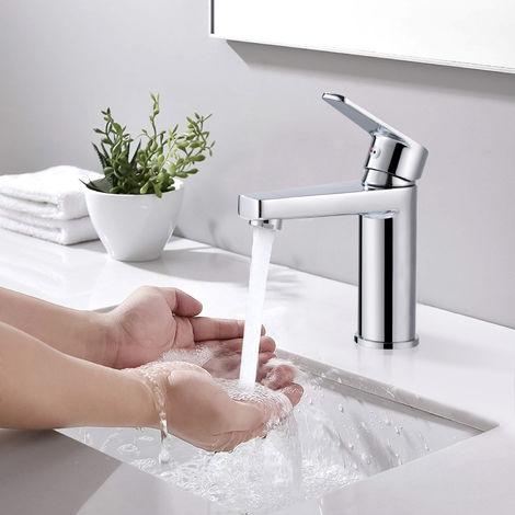 WOOHSE grifo grifo del baño lavabo mezclador lavabo lavabo monomando lavabo mezclador grifo grifería grifería baño para baño, cromo, garantía de por vida