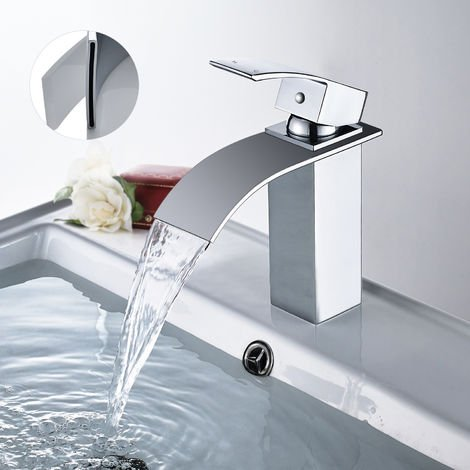 WOOHSE grifo monomando elegante grifo lavabo lavabo grifo mezclador fregadero cascada grifo grifo mezclador baño grifo lavabo