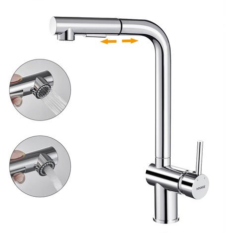 WOOHSE Kitchen Faucet with Pull-Out Spray Sink Mixer 360 ° Swivel Spout Faucet with 2 Choice of Anti-limescale Jets in Chromed Brass