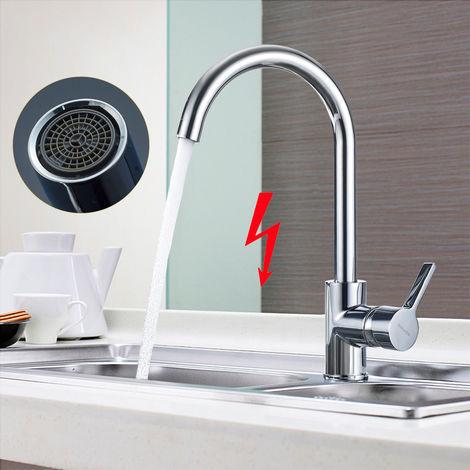 WOOHSE Küchenarmatur 360 ° drehbare Niederdruck Einhebel Mischbatterie für Küchenspülbecken, drucklose Warmwasserspeicher oder Untertischgeräte